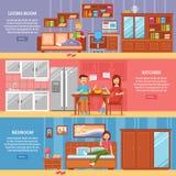 Horizontal Furniture Banner Set. Interior furniture horizontal banner set with variants of indoor activity  vector illustration Stock Photo