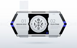 Horizontal futuristic template with two options in clean hi-tech/techno style. On white background Stock Images