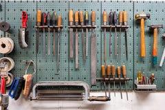 Free Horizontal Garage Shop Tool Rack Front View Tight Shot Stock Photography - 196389802