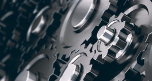 Horizontal Gear Cogs Background Stock Image