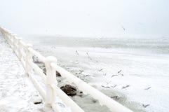 Horizontal gelé de frontière de sécurité Images stock