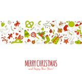 Horizontal geometric shape vector with christmass drawing elements Royalty Free Stock Photography