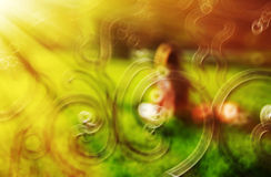 Horizontal girl in park bokeh abstraction with light leak backgr. Ound royalty free stock photography