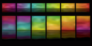 Horizontal glowing buttons with reflection Stock Image