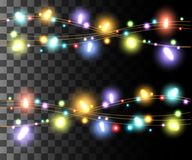 Horizontal glowing light colorful bulbs design for holidays garlands christmas decorations effect isolated on the transparent back. Ground website page game and royalty free illustration