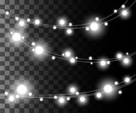 Horizontal glowing light silver bulbs design for holidays garlands christmas decorations effect isolated on the transparent backgr. Ound website page game and Stock Photos