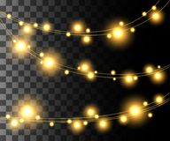 Horizontal glowing light yellow bulbs design for holidays garlands christmas decorations effect  on the transparent backgr. Ound website page game and mobile app Stock Image