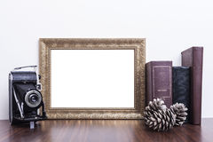 Horizontal Gold Frame Royalty Free Stock Photography