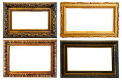 Horizontal gold picture frames. Isolated over white background with clipping path royalty free stock photos
