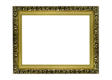 Horizontal golden Frame for picture or portrait Royalty Free Stock Photography