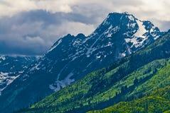 Horizontal grand de montagnes de Tetons Images libres de droits