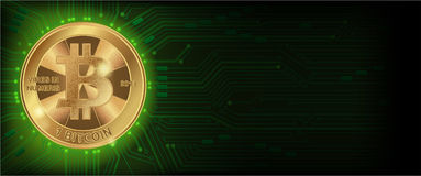 Horizontal green background with bitcoin and microcircuit. Horizontal web banner  with golden bitcoin and dark green background with microchip and place for your Stock Image
