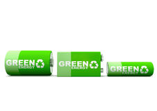 Horizontal Green Energy Batteries. Environmentally friendly green energy batteries. One AA double A, C and 9 Volt in horizontal orientation Stock Image