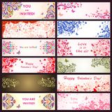 Horizontal greeting decorative banners Royalty Free Stock Photography