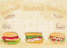 Horizontal grunge background with sandwich Stock Photo