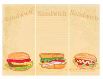 Horizontal grunge background with sandwich set Stock Images