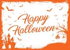 Horizontal Halloween background with grunge border Stock Photos