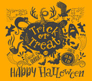 Horizontal Halloween lettering quote. Horizontal holiday quote design with pumpkin vector illustration. Happy Halloween and Trick or treat lettering Royalty Free Stock Photo