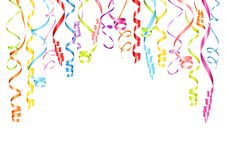 Horizontal Hanging Streamers Background With Different Colors stock illustration