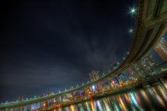 Horizontal HDR de nuit de Tokyo Photos stock