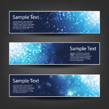 Horizontal Header, Banner Set for Christmas, New Year or Other Holidays, Cover or Background Designs - Colors: Blue, White Royalty Free Stock Photos