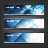 Horizontal Header, Banner Set for Christmas, New Year or Other Holidays, Cover or Background Designs - Colors: Blue, White Stock Photos