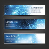 Horizontal Header, Banner Set for Christmas, New Year or Other Holidays, Cover or Background Designs - Colors: Blue, White Stock Image