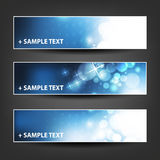 Horizontal Header, Banner Set for Christmas, New Year or Other Holidays, Cover or Background Designs - Colors: Blue, White Stock Photography