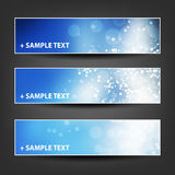 Horizontal Header, Banner Set for Christmas, New Year or Other Holidays, Cover or Background Designs - Colors: Blue, White Royalty Free Stock Photo