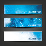 Horizontal Header, Banner Set for Christmas, New Year or Other Holidays, Cover or Background Designs - Colors: Blue, White Royalty Free Stock Image