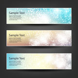 Horizontal Header, Banner Set for Christmas, New Year or Other Holidays, Cover or Background Designs - Colors: Brown, Blue, Orange Stock Images