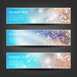 Horizontal Header, Banner Set for Christmas, New Year or Other Holidays, Cover or Background Designs - Colors: Brown, Blue, White Royalty Free Stock Photo