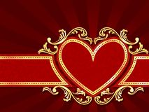 Horizontal heart-shaped red banner with gold filig Stock Photo