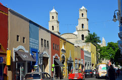 Historic  Merida, Mexico. Horizontal historic centro, central, area of historic Merida, Mexico. Street leading to oldest church in the Americas Stock Photo