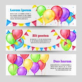 Horizontal holiday banners with color balloons. Vector template design Stock Photo
