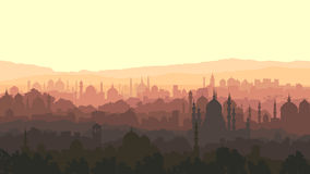 Horizontal illustration of big arab city at sunset. Stock Images