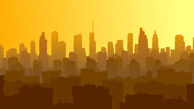 Horizontal illustration of big city with roofs of houses and sky Royalty Free Stock Images