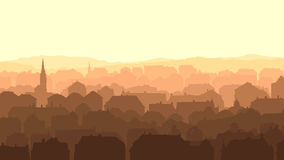 Horizontal illustration of big European city at su Stock Photo