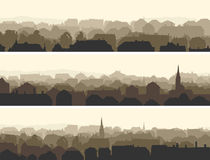 Horizontal illustration of big European city. Stock Images