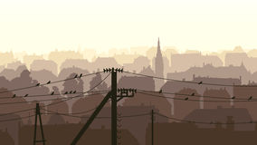 Horizontal illustration of birds on power line. Royalty Free Stock Photos