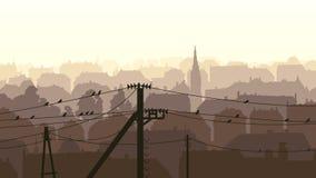 Horizontal illustration of birds on power line. Royalty Free Stock Photos