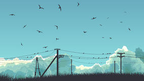 Horizontal illustration of birds in sky and on power line. Horizontal abstract illustration of blue sky with clouds and birds on power line Royalty Free Stock Photo