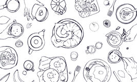 Horizontal illustration on breakfast theme. Black and white vector hand drawn table with drink, pancakes, sandwiches. Eggs, croissants and fruits. Top view Royalty Free Stock Photos