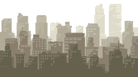 Horizontal illustration of cartoon big city. Stock Photos