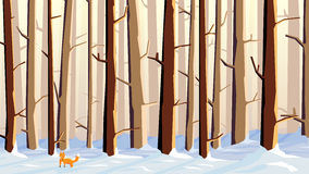 Horizontal illustration of cartoon snowy forest with fox. Stock Images