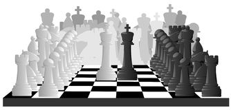 Horizontal illustration of chess game. Royalty Free Stock Images