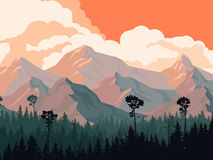 Horizontal illustration of coniferous forest with mountains. Stock Photos