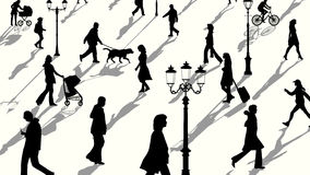Horizontal illustration of crowd people silhouettes with shadows. Vector horizontal illustration crowd of people and lampposts silhouettes with shadows Stock Photos