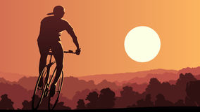 Horizontal illustration of cyclist rides at sunset. Stock Image