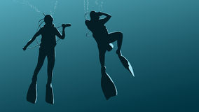 Horizontal illustration of divers under water. Royalty Free Stock Images